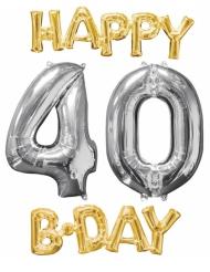 4 Ballons aluminium Happy Bday 40 ans or et argent