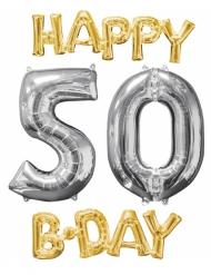 4 Ballons aluminium Happy Bday 50 ans or et argent