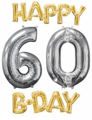 4 Ballons aluminium Happy Bday 60 ans or et argent