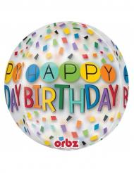 Ballon transparent Happy Birthday 38 x 40 cm