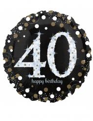 Ballon géant aluminium 40 ans Happy Birthday noir et argent 71 cm