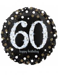 Ballon géant aluminium 60 ans Happy Birthday noir et argent 71 cm
