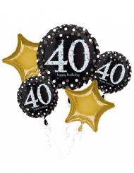 Bouquet de 5 ballons aluminium 40 ans Happy Birthday