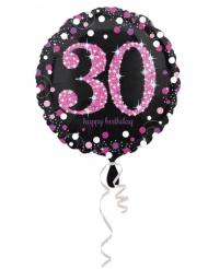 Ballon aluminium 30 ans Happy Birthday noir et fuchsia 43 cm