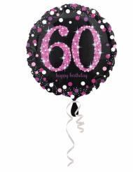 Ballon aluminium 60 ans Happy Birthday noir et fuchsia 43 cm