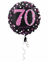 Ballon aluminium 70 ans Happy Birthday noir et fuchsia 43 cm