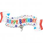 Petit ballon aluminium bannière Happy Birthday 38 x 17 cm