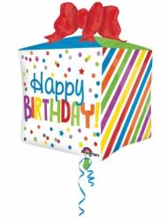 Ballon aluminium cadeau Happy Birthday multicolore 40 x 53 cm
