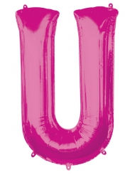 Ballon aluminium lettre U fuchsia 58 x 83 cm