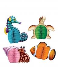 4 Mini centres de table en papier Créatures de la Mer 14 cm