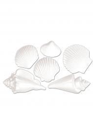 6 Coquillages décoratifs en plastique blancs
