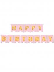 Bannière en papier Happy Birthday rose et or 15 cm x 3 m