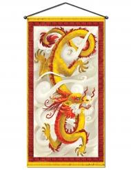 Décoration murale Dragon chinois rouge et jaune 76 cm x 1,5 m