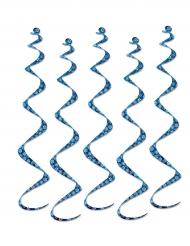 5 Suspensions en spirale Flocons de neige bleu et blanc 60 cm