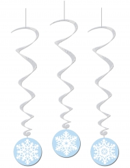 3 Suspensions  spirales Flocons de neiges 15 x 91 cm