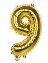 Ballon aluminium chiffre 9 doré 36 cm