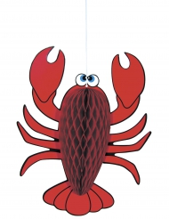 Suspension homard rouge alvéolé 25 cm