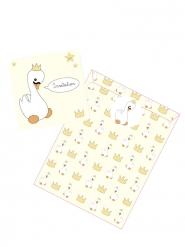 8 Invitations en carton Bébé Cygne avec pochettes 12 x 12 cm