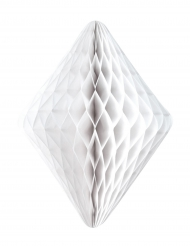 Diamant en papier alvéolé blanc 24 x 30 cm
