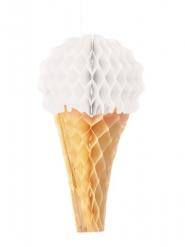 Glace en papier alvéolé blanche 20 cm