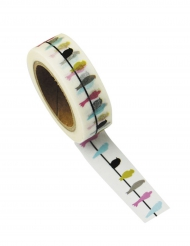 Washi tape Hirondelles multicolores 10 m