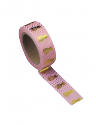 Washi tape rose Ananas doré 10 m