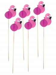 12 Piques Flamants roses alvéolés 20 cm