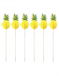 12 Piques Ananas jaunes alvéolés 20 cm