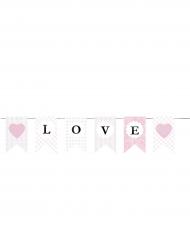 Guirlande en papier Love blanche et rose 3 m