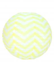 Lanterne japonaise blanche à chevrons jaune 35 cm