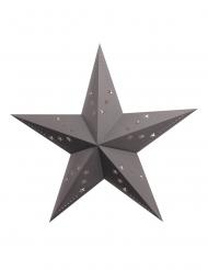 Lanterne étoile grise en carton 30 cm