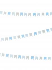 Mini guirlande petits fanions gris et bleus 2m