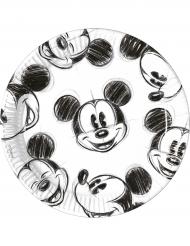 25 Assiettes en carton noir et blanc Mickey™  23 cm