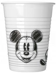 8 Gobelets en plastique Mickey™ rétro noir et blanc 200 ml