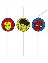 6 Pailles médaillon Avengers™ pop comic
