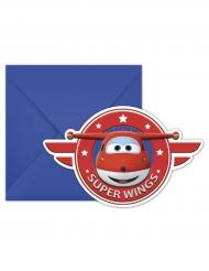 6 Cartons d'invitation avec enveloppes Super Wings™ 20 x 13 cm
