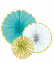 3 Rosaces décoratives en papier bleu, blanc et doré