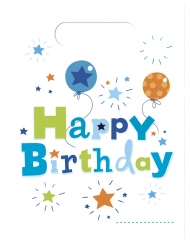 6 Sacs cadeaux Happy Birthday 16,5 x 23 cm