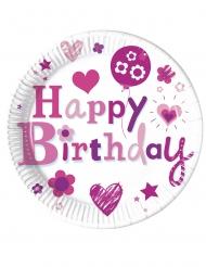 8 Assiettes en carton Happy Birthday fille 23 cm