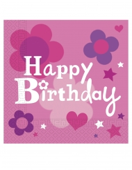 20 Serviettes en papier Happy Birthday fille 33 x 33 cm