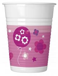 8 Gobelets en plastique Happy Birthday fille 200 ml