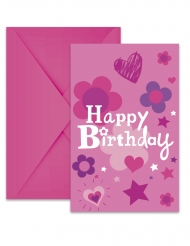 6 Cartons d'invitation avec enveloppes Happy Birthday fille 22 x 11 cm