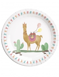 8 Assiettes en carton Lama Party 23 cm