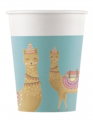 8 Gobelets en carton Lama Party 200 ml