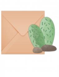 6 Cartons d'invitation avec enveloppes Lama Party
