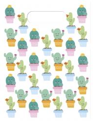 6 Sacs cadeaux Petits Cactus 16,5 x 23 cm