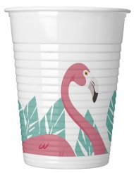 8 Gobelets en plastique Flamingo 200 ml