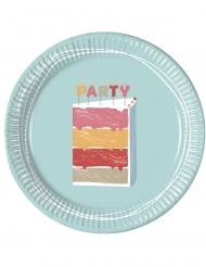 8 Assiettes en carton Gâteau d'Anniversaire 23 cm