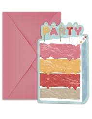 6 Cartons d'invitation avec enveloppes Gâteau d'Anniversaire 21,3 x 11 cm