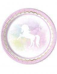 8 Assiettes en carton Licorne pastel 23 cm